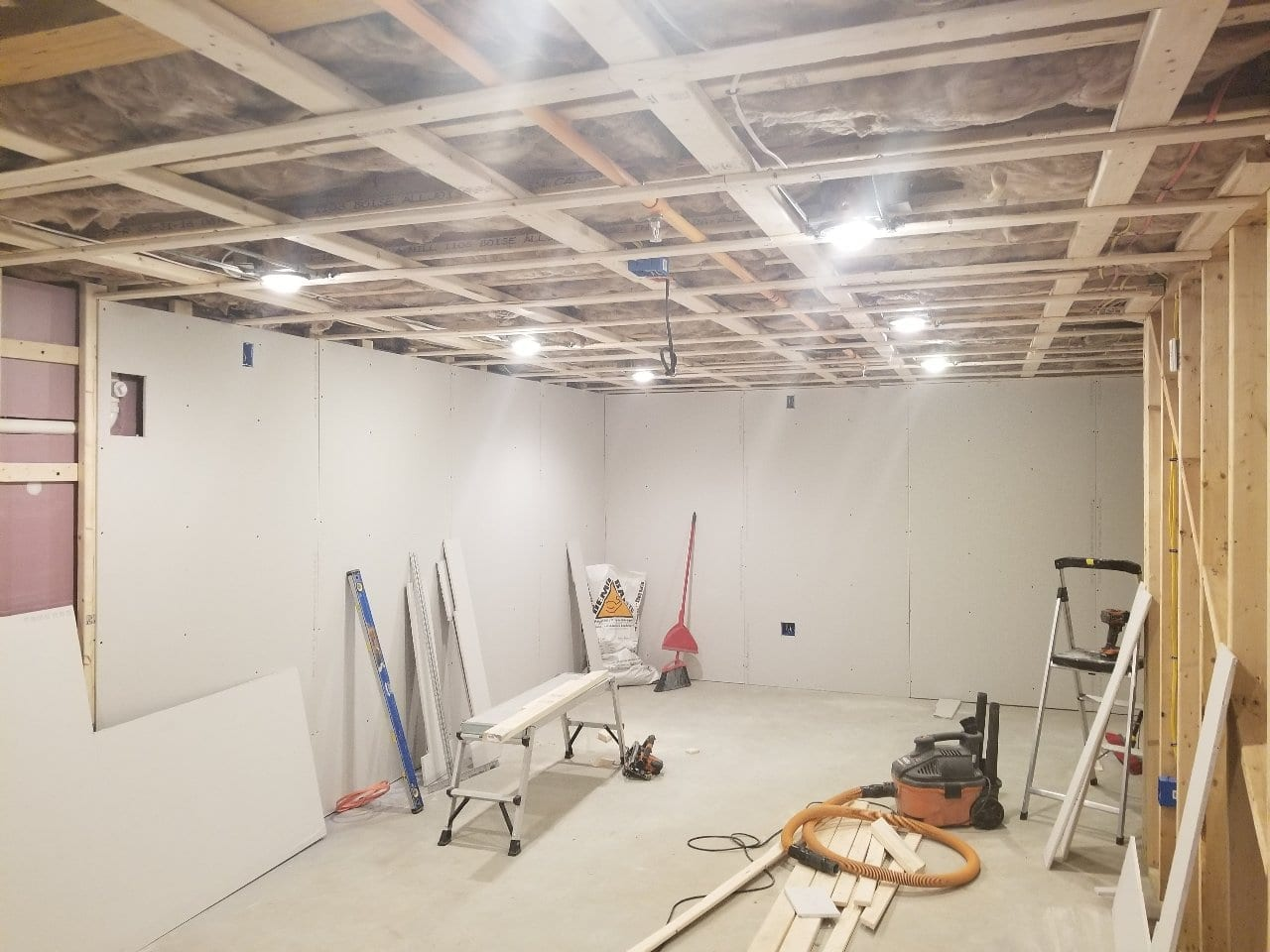H&J Home Solutions, basement, remodel, man cave, project, framing, drywall, run electrical, worcester, shrewsbury, metrowest, contractors,