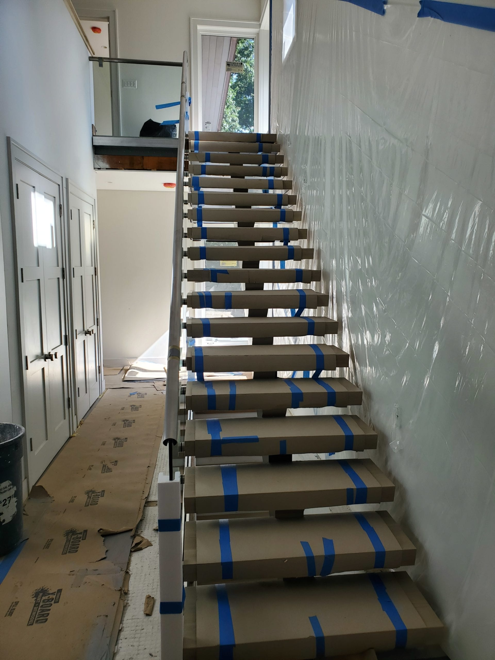 assembled, custom, staircase, prep, protect clients home, worcester, shrewsbury, metrowest,
